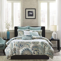 INK+IVY Mira  Cotton Printed Comforter Bedding Set, Blue