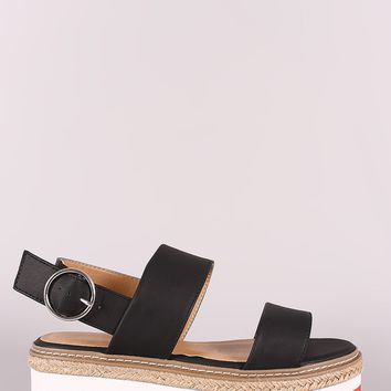 Gold Strappy Sandals Slingback Sandals For Women By Bamboo | Women Single Band Chunky Heel Sandal With Ankle Strap Bamboo Double Band Stripe Flatform Sandal