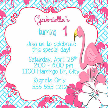 Birthday Invitation-Birthday Card- Flamingo Blues Party Invitation- 5 X 5 -1 Sided