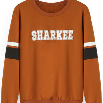 Khaki Sharkee Print Striped Sweatshirt