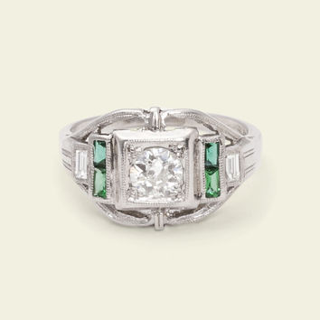Deco Arcs Diamond and Emerald Engagement Ring