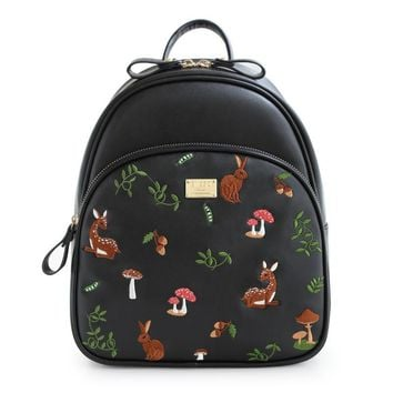ENSSO Cartoon Vintage Animal Prints Deer Girl's Black PU Leather Mushrooms Embroidery Women's Shoulder Satchel Backpack Book Bag
