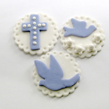 Religious Lavender Collection of Fondant Cupcake, Cake, Cookie Toppers. Set of 12, 4 of each pattern.