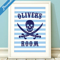 Personalized pirate art, boys pirate art, boys name art, toddler boy, boys room, room sign, letter art, boys name print, pirate print