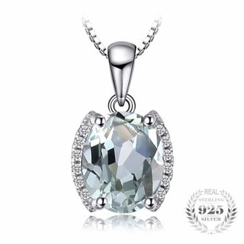 Oval Shaped Natural Green Amethyst  Pendant 925 Sterling Silver