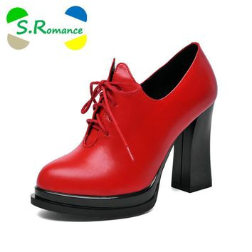 S.Romance Women Ankle Boots Genuine Full Grain Leather Lace Up High Heel Round Toe Sup