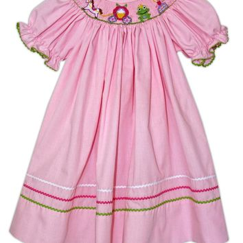 Smocked Fairy Tales Dress Pink Micro Gingham
