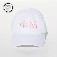 Phi Mu Sorority - Spony Ponytail Baseball Cap (White)