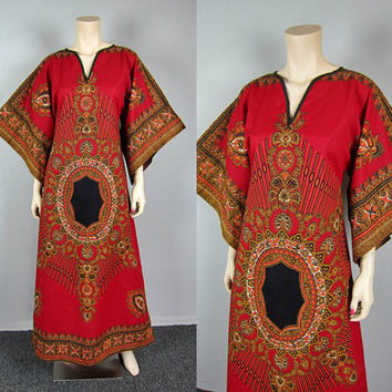 Vintage Ethnic Red Dashiki Hippie Caftan Maxi Dress Angel Bell Kimono Sleeve Gypsy Bohemian Tribal Dress
