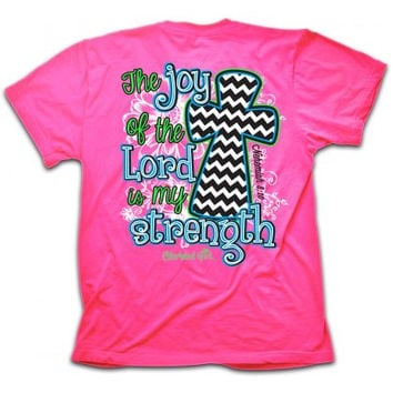 Cherished Girl Joy of the Lord Chevron Cross Girlie Christian Bright T Shirt