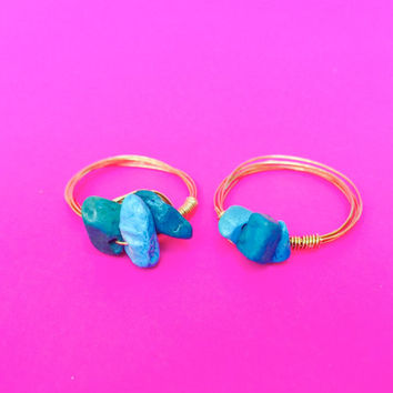 Ships Free! Turquoise Natural Stone Beaded Wire Wrapped Ring - Great Gift idea for bridesmaids, birthday, or more!