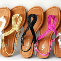 Women New Gladiator Roman T-Strap Strappy Fux Leather Braid Flat Sandals Shoes