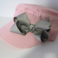 Youth Toddler Pink Distressed Cadet Cap with Grey Grosgrain Ribbon Bow Accent Baby Hats Youth Caps Girls Accessories Hats Baby Sun Hat