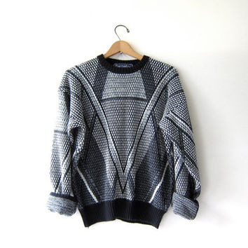 Vintage 80s abstract sweater. Bill Cosby sweater. black, grey & white knit pullover