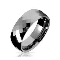 Couples Faceted Diamond Cut Wedding Band TungstenRingsForMen 8MM