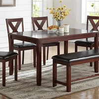 Poundex F2298 6 pc bridget ii collection cherry finish wood dining table set with padded seat chairs and bench