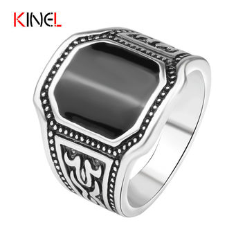Plated Silver Black Cut Ring Men Cool Ox Totems Steampunk Charms Jewelry Vintage Gift Free Shipping 2016 Hot Sale