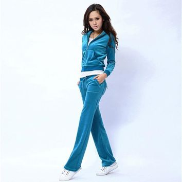 Juicy Couture Pure Color Velour Tracksuit 6047 2pcs Women Suits Blue