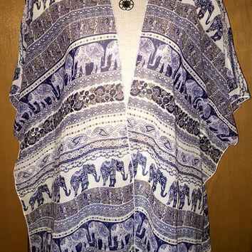 Vintage elephant bohemian open front kimono jacket size small or large