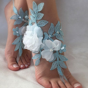 FREE SHIP Blue lace barefoot sandals, ivory 3D flowers beach wedding barefoot sandals, belly dance, wedding shoe, bridesmaid gift,