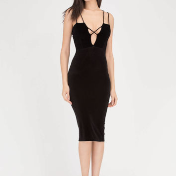 X Sells Strappy Plunging Velvet Dress GoJane.com