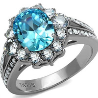 Blue Gemstone Ring - Oval Cut Cubic Zirconia