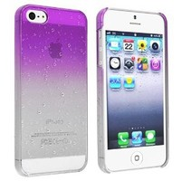 eForCity Clear Purple Waterdrop Raindrop Hard Case Compatible with Apple iPhone 5