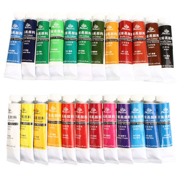 Hot 24 Colors Professional Acrylic Paints Set Hand Painted Wall Painting Textile Paint Brightly Colored Art Drawing Supplies
