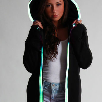 Light Up LED HOODIE Sweatshirt with ultra bright green el wire lights