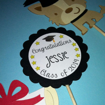 Customized Graduation cupcake toppers (set of 12)
