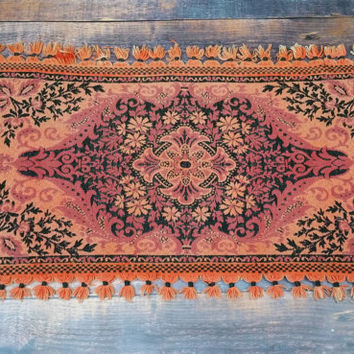Vintage Fringed Rug Pink Peach Orange Black