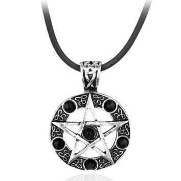 Supernatural Necklace Dean Winchester Star Rhinestone Rope Chain Pendant Pentagram Colares Femininos Collares Statement Necklace