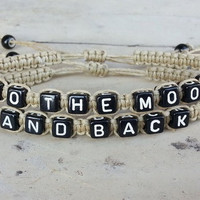 To the Moon and Back Bracelet, Boyfriend Girlfriend Jewelry, Set of 2 Date Bracelet, Anniversary Gift = 1929708164