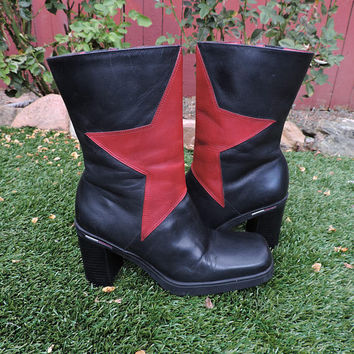 90s chunky ankle boots / size 6 / vintage Tommy Hilfiger boots / black / red leather 1990s boots / goth punk 90s boots / sexy hot 90s boots