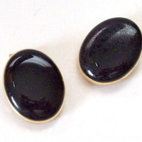 Vintage Black Enameled Earrings