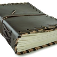 Small Rustic Leather Journal Bistre Brown