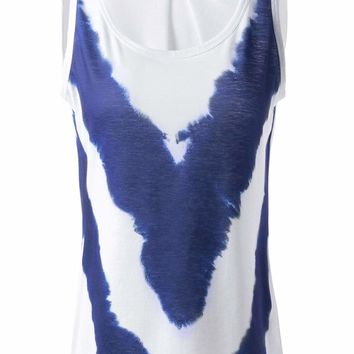 Fashionable Loose-Fitting Simple Scoop Neck Sleeveless Printing T-shirts For Women