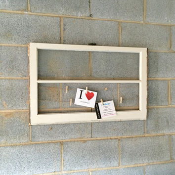 Vintage 2 Pane Window Frame/ Photo / Message Display w/ Clothespins - Rustic, Wood, Wedding, Engagement, Beach, Decor, Photos, Picture Frame