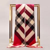 2017 New Women Scarves Plaid Smooth Thin Soft Fashion Design Ladies Pashmina Classic Pattern silk scarf silk chiffon fashion