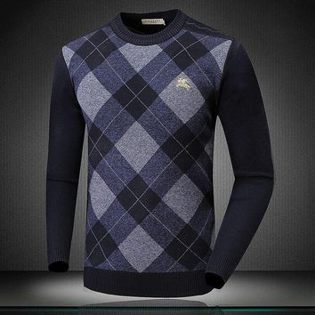 ONETOW BURBERRY Fashion Men Warm Pullover Knitwear Matching Sweater  G-A00FS-GJ