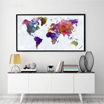 World Map Earth Banner Colour Abstract Watercolour Art Silk Poster Unframed Wall Decor Gifts 48x24 Inch(120*60cm) BW003