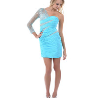 2014 Prom Dresses - Light Blue Ruched Sheer One Shoulder Fitted Short Dress - Unique Vintage - Prom dresses, retro dresses, retro swimsuits.