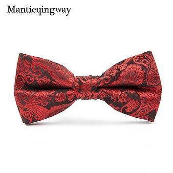 Vintage Floral Printed Bow Ties For Men Wedding Party Cravat Neckwear Accessories Polyester Bow Tie