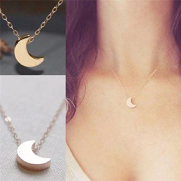 Tiny Moon Necklace - Silver or Gold