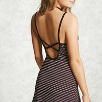 Mini Striped Open-Back Dress