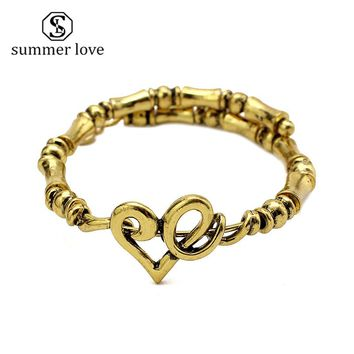 Big Chunky Bracelet Link Chain Expandable Cuff Bangles & Bracelets Antique Gold/Silver Women Men Punk Rock Jewelry Bracelets