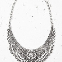 Rhinestoned Bib Statement Necklace