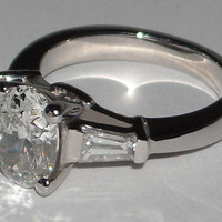 ring PLATINUM 2.01 carats oval diamond three 3 stone