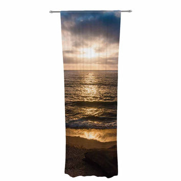 "Nick Nareshni ""La Jolla Sunset On Beach"" Blue  Decorative Sheer Curtain"