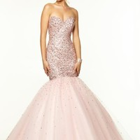 Mori Lee Beaded Bodice Dress 97103